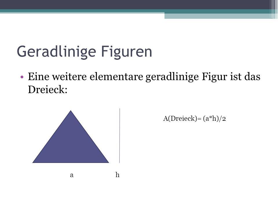 Geradlinige Figuren Eine weitere elementare geradlinige Figur ist das Dreieck: ah A(Dreieck)= (a*h)/2