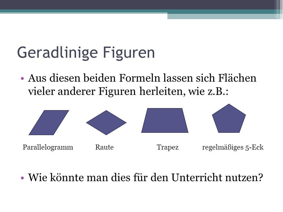 Geradlinige Figuren Aus diesen beiden Formeln lassen sich Flächen vieler anderer Figuren herleiten, wie z.B.: Wie könnte man dies für den Unterricht n