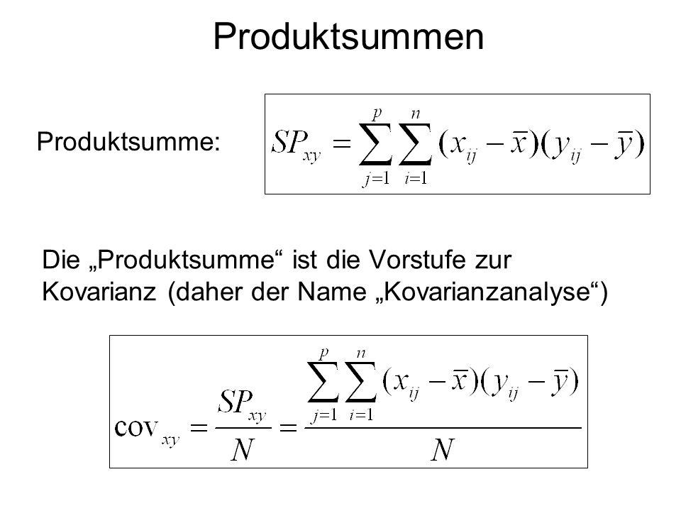 Produktsummen Die Produktsumme ist die Vorstufe zur Kovarianz (daher der Name Kovarianzanalyse) Produktsumme: