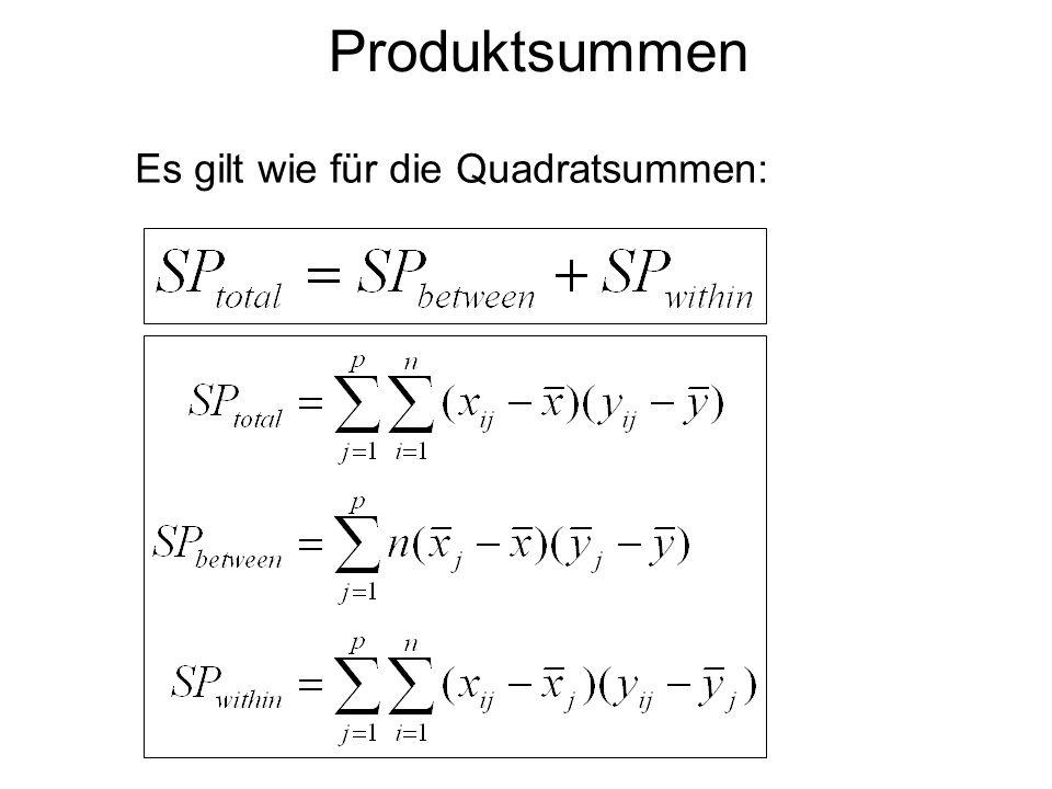 Produktsummen Es gilt wie für die Quadratsummen: