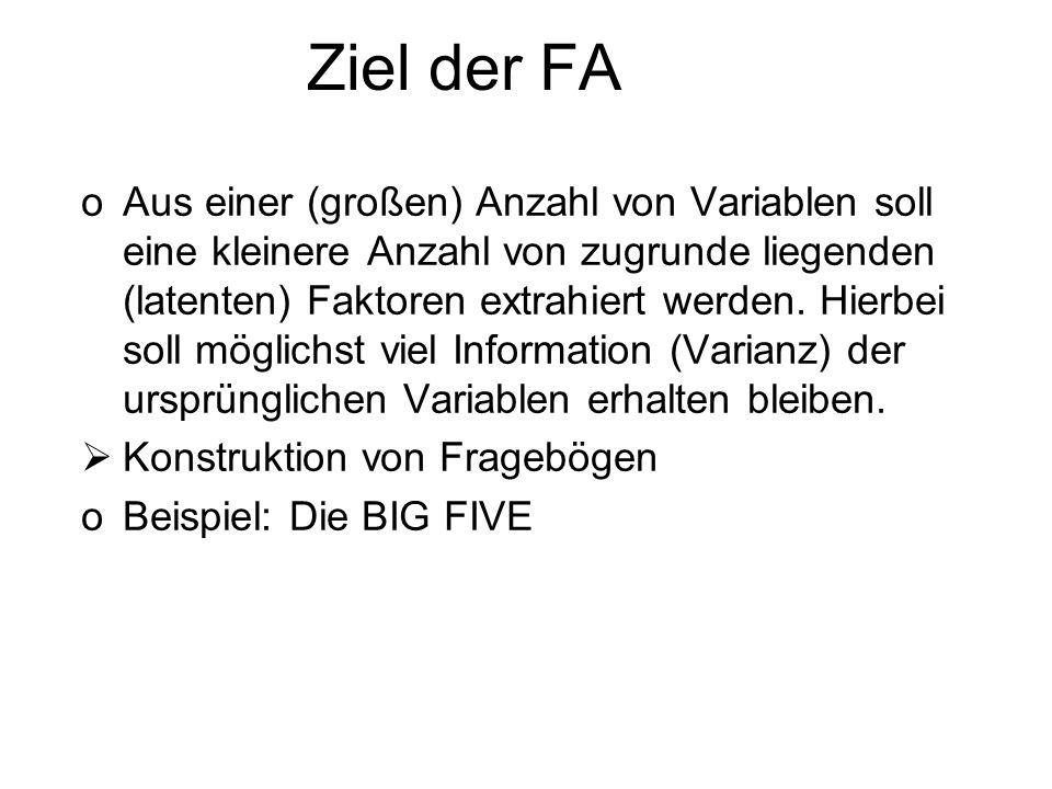 Ziel der FA oAus einer (großen) Anzahl von Variablen soll eine kleinere Anzahl von zugrunde liegenden (latenten) Faktoren extrahiert werden. Hierbei s