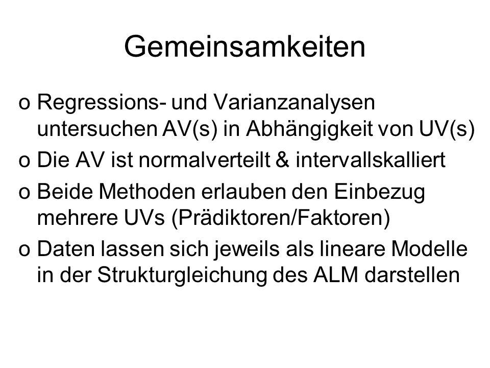 Gemeinsamkeiten oRegressions- und Varianzanalysen untersuchen AV(s) in Abhängigkeit von UV(s) oDie AV ist normalverteilt & intervallskalliert oBeide M