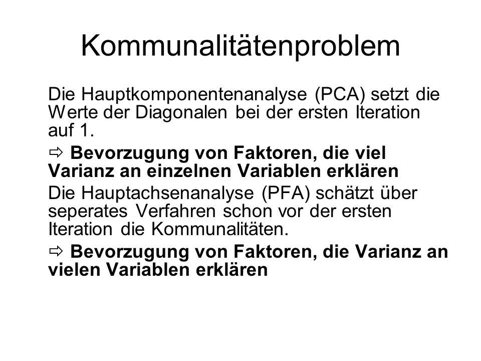 Kommunalitätenproblem Die Hauptkomponentenanalyse (PCA) setzt die Werte der Diagonalen bei der ersten Iteration auf 1. Bevorzugung von Faktoren, die v