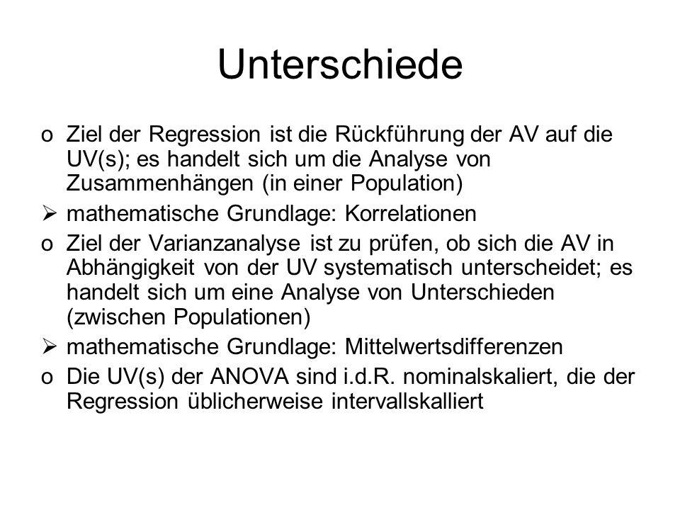 Unterschiede oZiel der Regression ist die Rückführung der AV auf die UV(s); es handelt sich um die Analyse von Zusammenhängen (in einer Population) ma