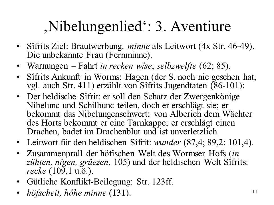 11 Nibelungenlied: 3. Aventiure Sîfrits Ziel: Brautwerbung. minne als Leitwort (4x Str. 46-49). Die unbekannte Frau (Fernminne). Warnungen – Fahrt in