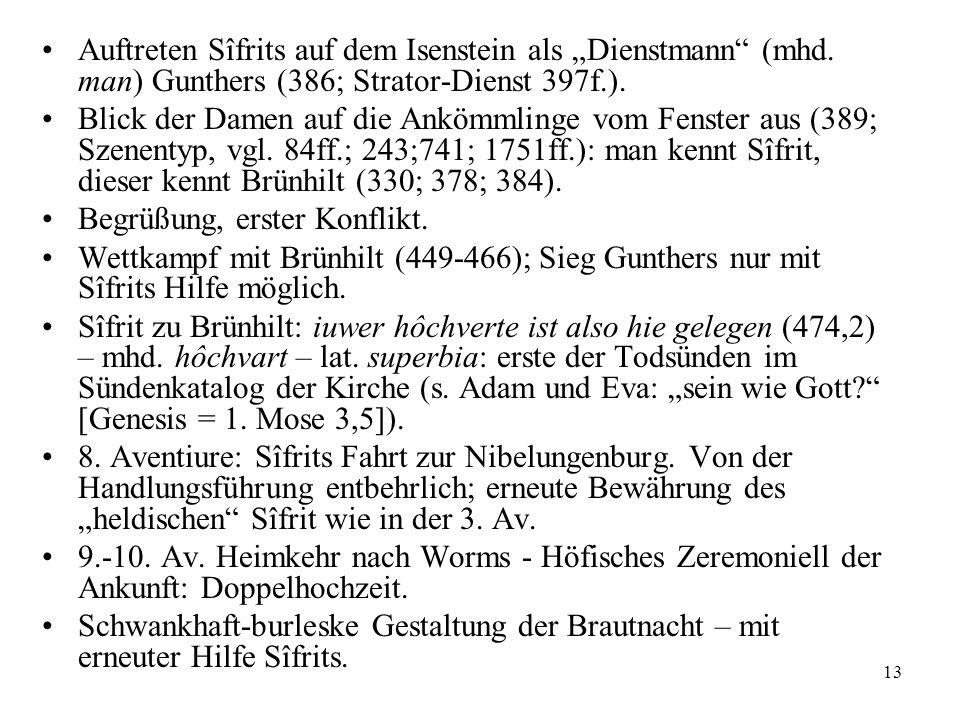 13 Auftreten Sîfrits auf dem Isenstein als Dienstmann (mhd. man) Gunthers (386; Strator-Dienst 397f.). Blick der Damen auf die Ankömmlinge vom Fenster
