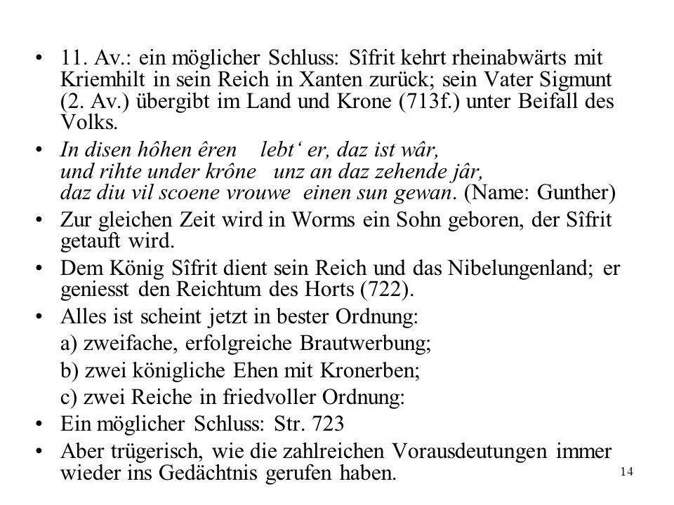 14 11. Av.: ein möglicher Schluss: Sîfrit kehrt rheinabwärts mit Kriemhilt in sein Reich in Xanten zurück; sein Vater Sigmunt (2. Av.) übergibt im Lan