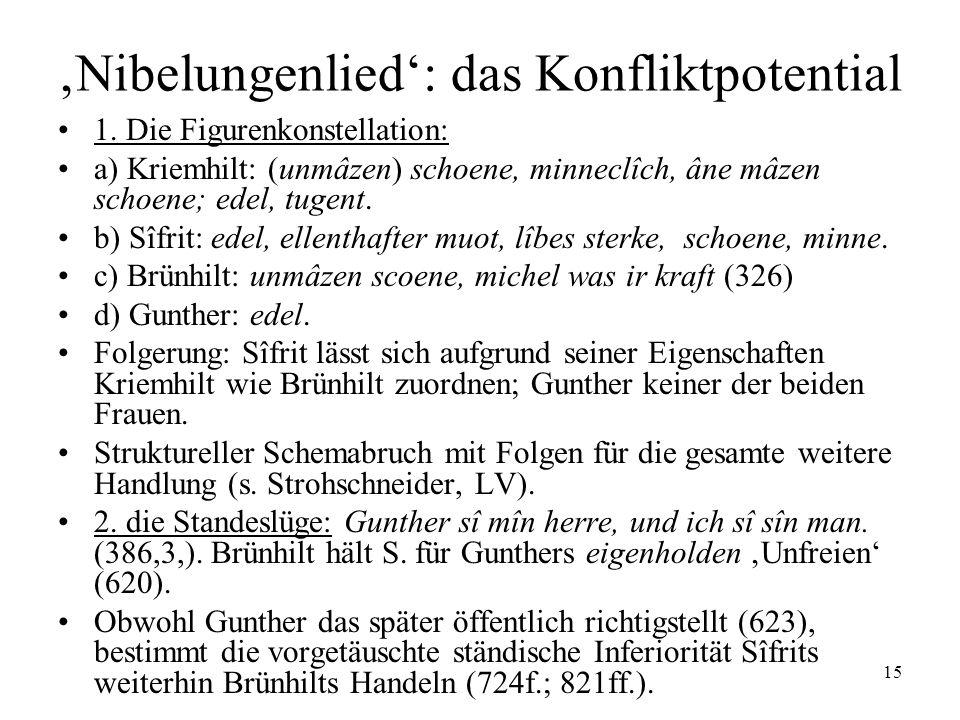 15 Nibelungenlied: das Konfliktpotential 1. Die Figurenkonstellation: a) Kriemhilt: (unmâzen) schoene, minneclîch, âne mâzen schoene; edel, tugent. b)