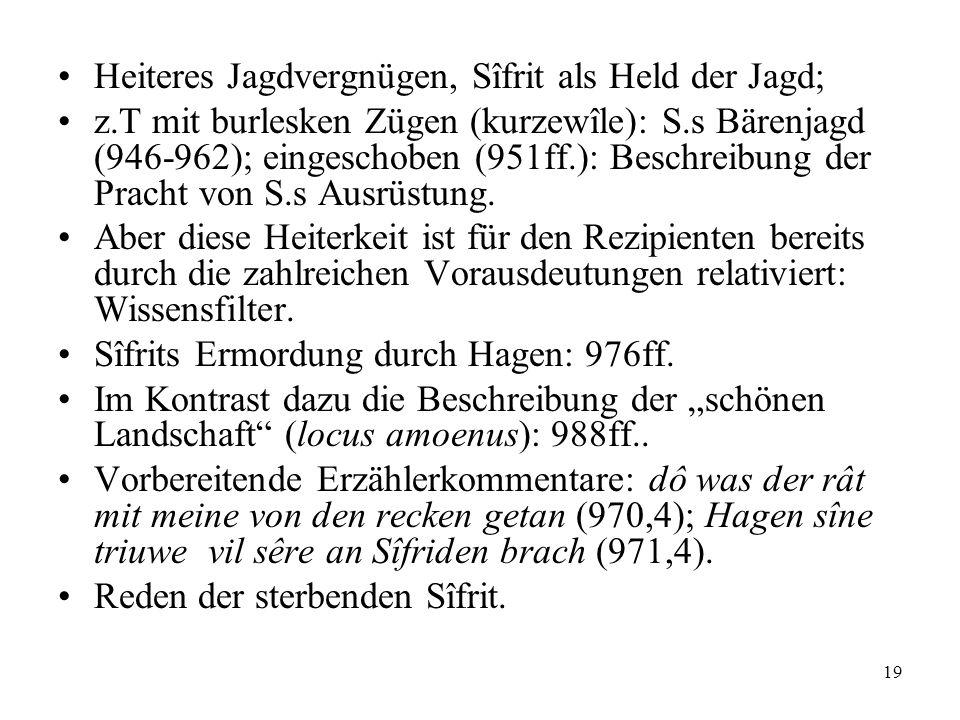 19 Heiteres Jagdvergnügen, Sîfrit als Held der Jagd; z.T mit burlesken Zügen (kurzewîle): S.s Bärenjagd (946-962); eingeschoben (951ff.): Beschreibung