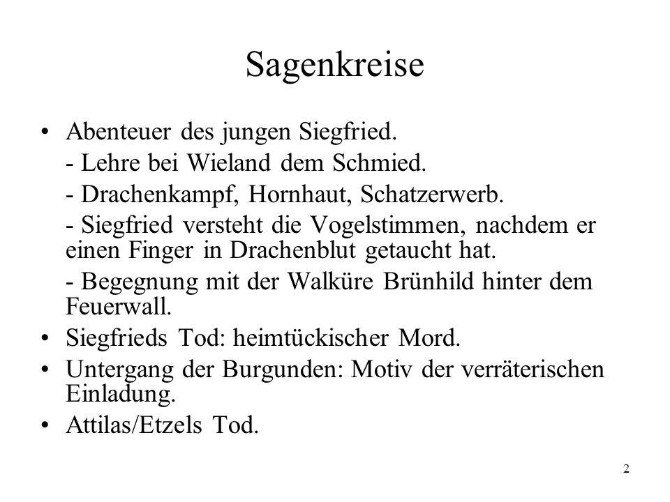 2 Sagenkreise Abenteuer des jungen Siegfried. - Lehre bei Wieland dem Schmied. - Drachenkampf, Hornhaut, Schatzerwerb. - Siegfried versteht die Vogels