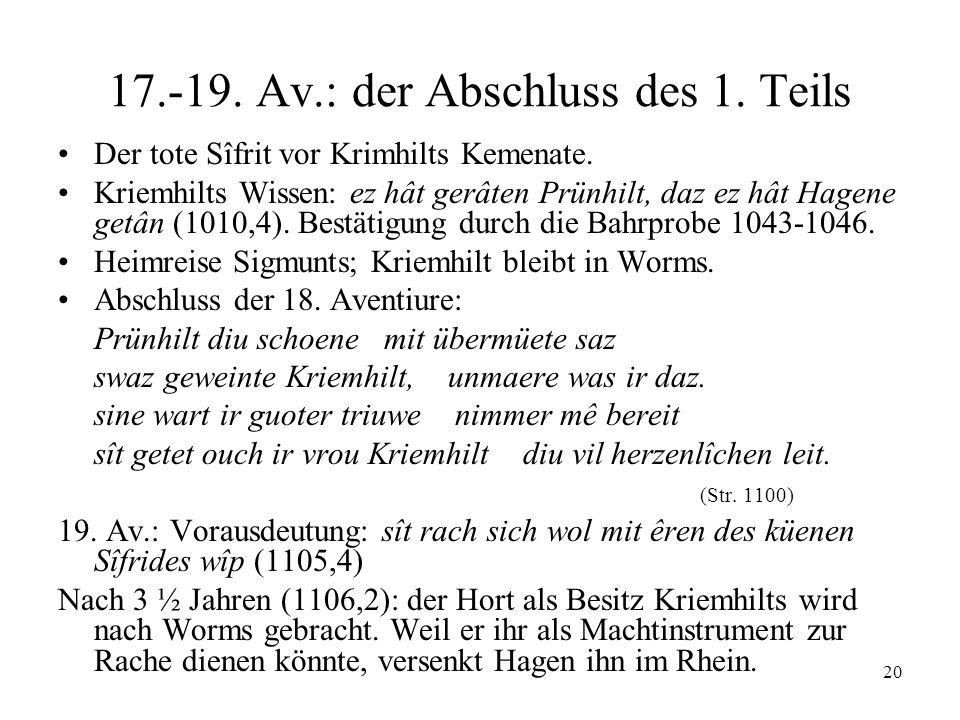 20 17.-19. Av.: der Abschluss des 1. Teils Der tote Sîfrit vor Krimhilts Kemenate. Kriemhilts Wissen: ez hât gerâten Prünhilt, daz ez hât Hagene getân