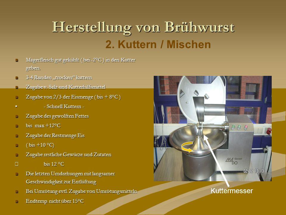 Herstellung von Brühwurst Magerfleisch gut gekühlt ( bei -2°C ) in den Kutter geben. Magerfleisch gut gekühlt ( bei -2°C ) in den Kutter geben. 3-4 Ru
