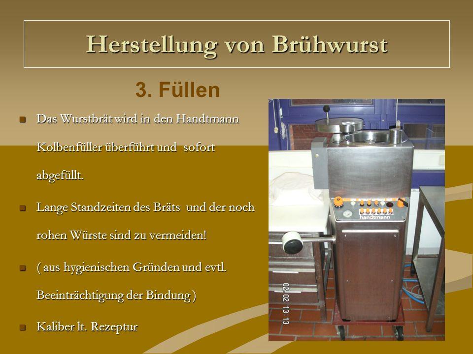 Herstellung von Brühwurst Das Wurstbrät wird in den Handtmann Kolbenfüller überführt und sofort abgefüllt. Das Wurstbrät wird in den Handtmann Kolbenf