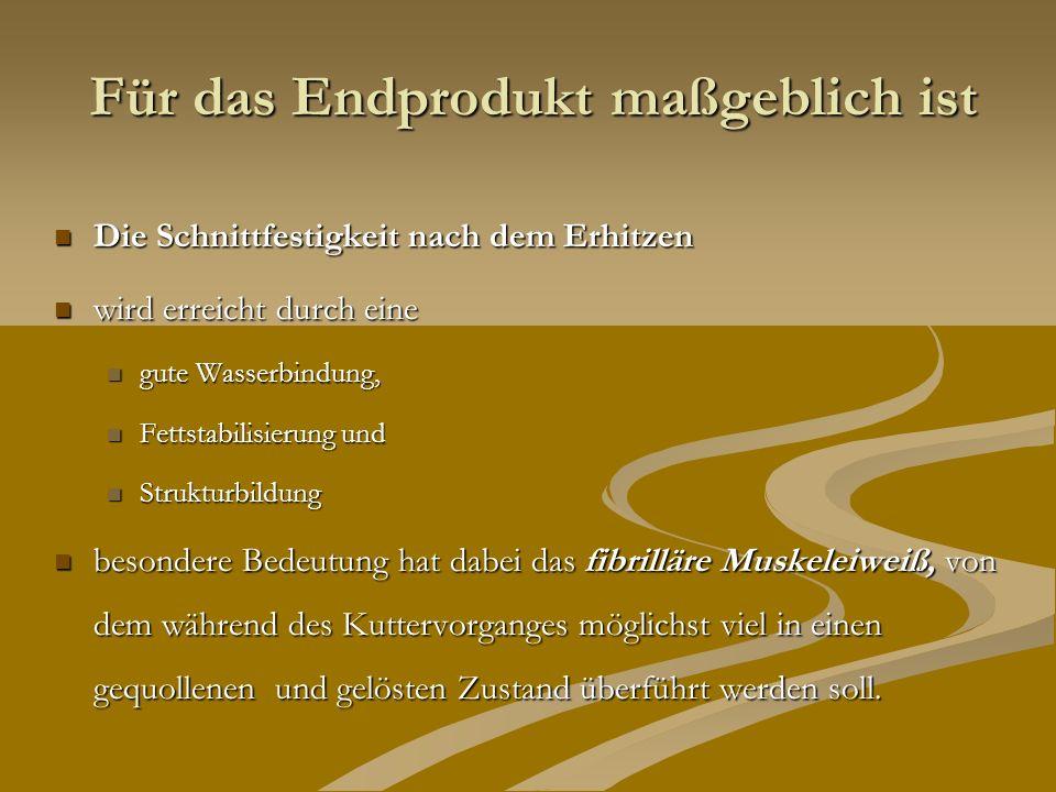Brühwurst als kolloidales System Brühwurstbrät ist ein komplexes System, bestehend aus echter Lösung, Gellen, Suspension, Emulsion und Schaum.