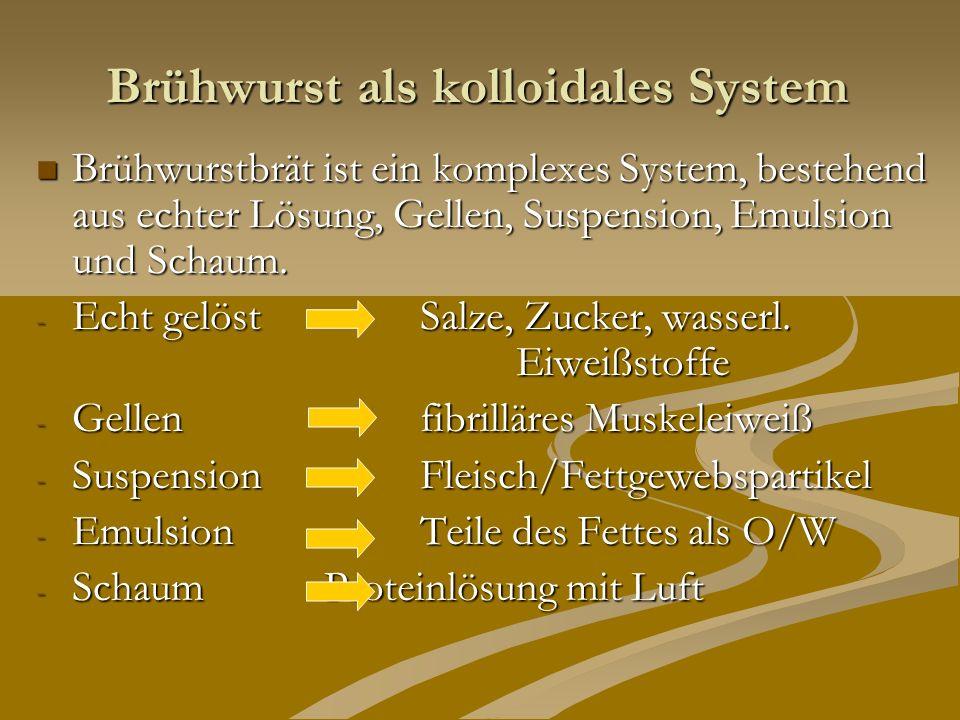 Brühwurst als kolloidales System Brühwurstbrät ist ein komplexes System, bestehend aus echter Lösung, Gellen, Suspension, Emulsion und Schaum. Brühwur
