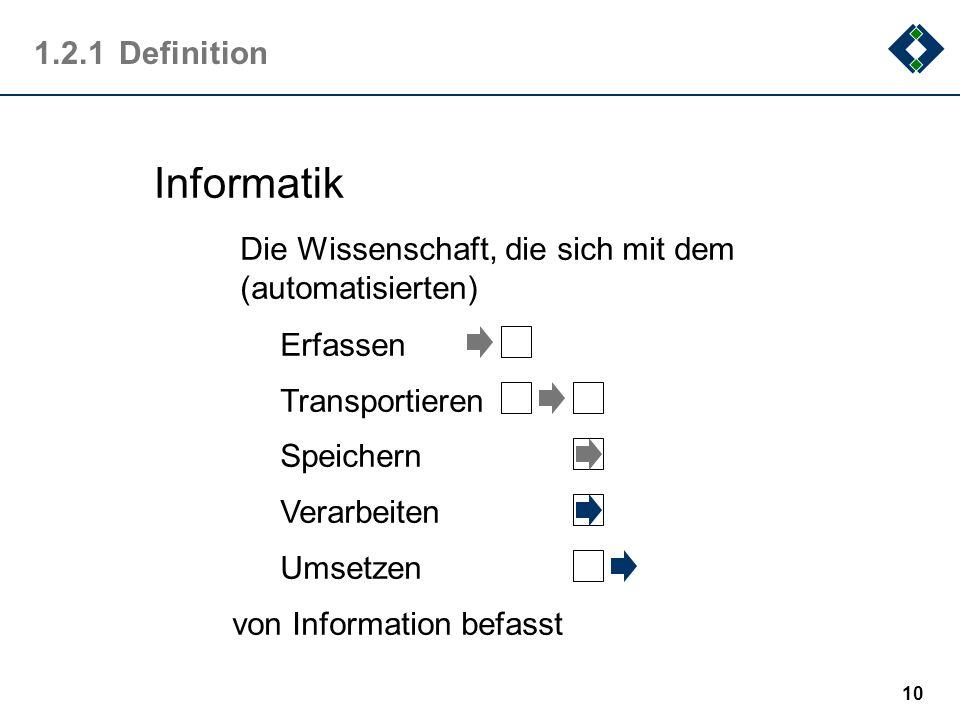 9 1.2Was ist Informatik Jedes Lehrbuch der Informatik gibt seine Definition der Informatik. Auch der Duden beschreibt die Informatik als Wissenschaft