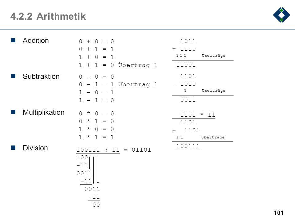 100 4.2.2Konvertierung: Restwertmethode Erzeugen des Hornerschemas (Ausklammern der Basis b) c 0 = a n b n + a n-1 b n-1 +... + a 2 b 2 +a 1 b 1 + a 0