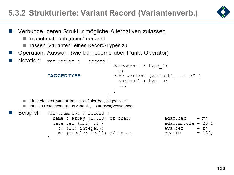 129 5.3.2Strukturierte: Record (Verbund) Verbunde sind Aggregationen von Daten möglicherweise unter-schiedlichen Typs manchmal auch structure oder str