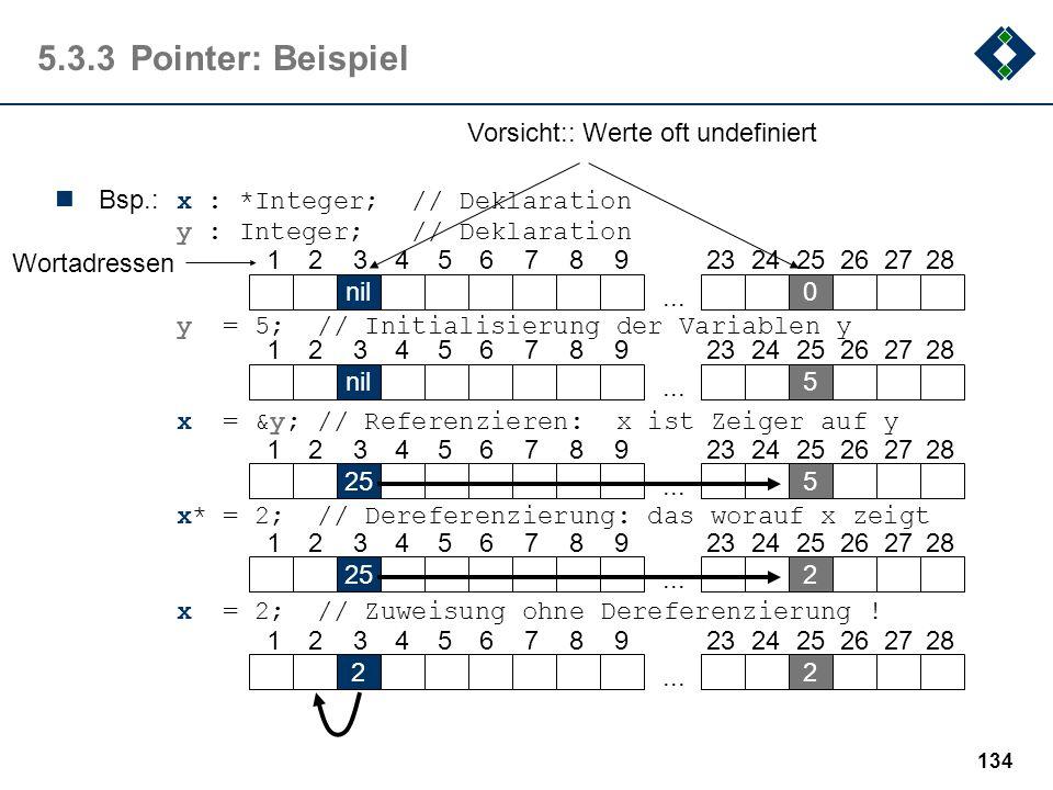 133 5.3.3Pointer (Zeiger, Verweis) Zeiger-Datentypen sind durch folgende Eigenschaften gekennzeichnet: Die Struktur ist identisch der eines Integer-Da
