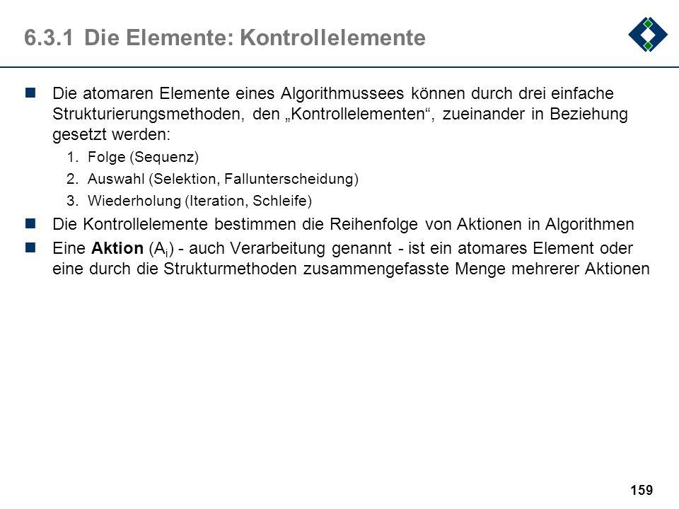 158 6.3.1Die Elemente: atomare Elemente Anweisungen sind die atomaren Elemente eines Algorithmus, die Elemente also, aus denen ein Algorithmus aufgeba
