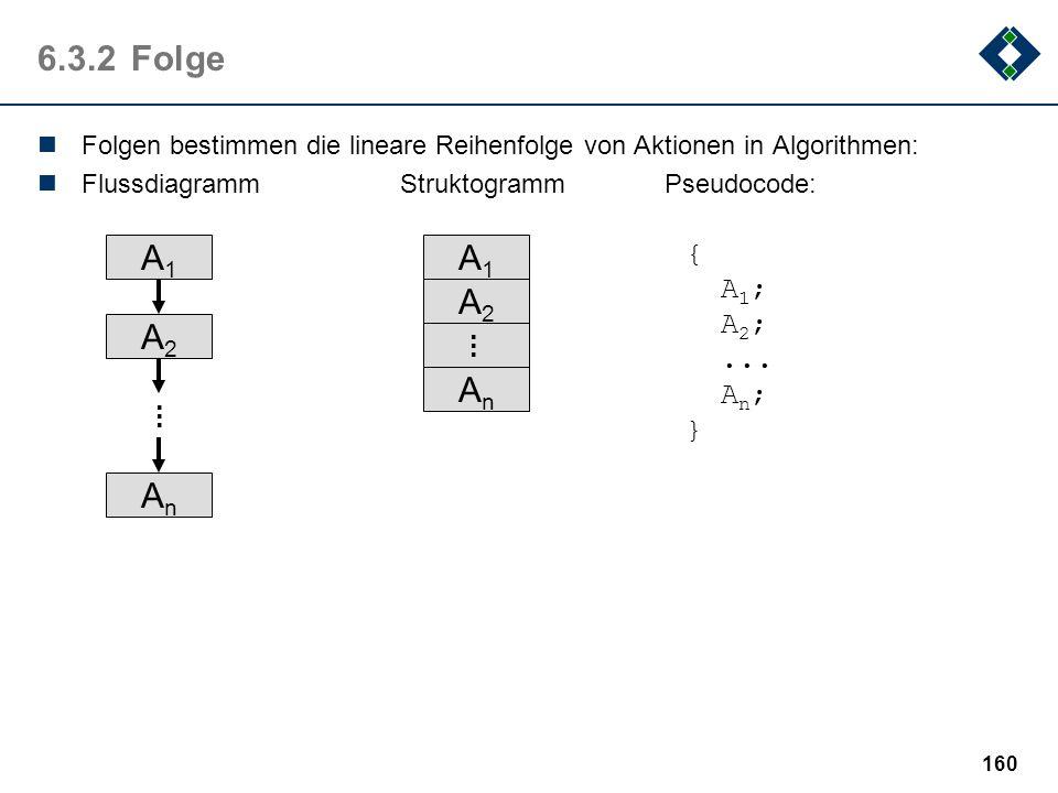 159 6.3.1Die Elemente: Kontrollelemente Die atomaren Elemente eines Algorithmussees können durch drei einfache Strukturierungsmethoden, den Kontrollel