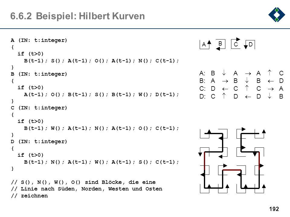 191 6.6.2Beispiel: Hilbert Kurven Die Hilbert Kurve ist eine stetige Kurve, die jeden beliebigen Punkt einer quadratischen Fläche erreichen kann, ohne