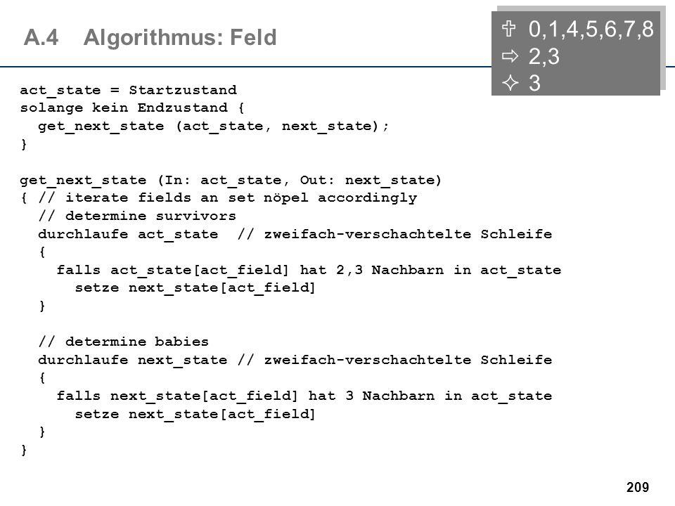 208 A.4Strukturen Entwurf der Datenstrukturen - zwei Ansätze: Der Spielfeldzustand wird als zweidimensionales Feld repräsentiert act_state: array [1..