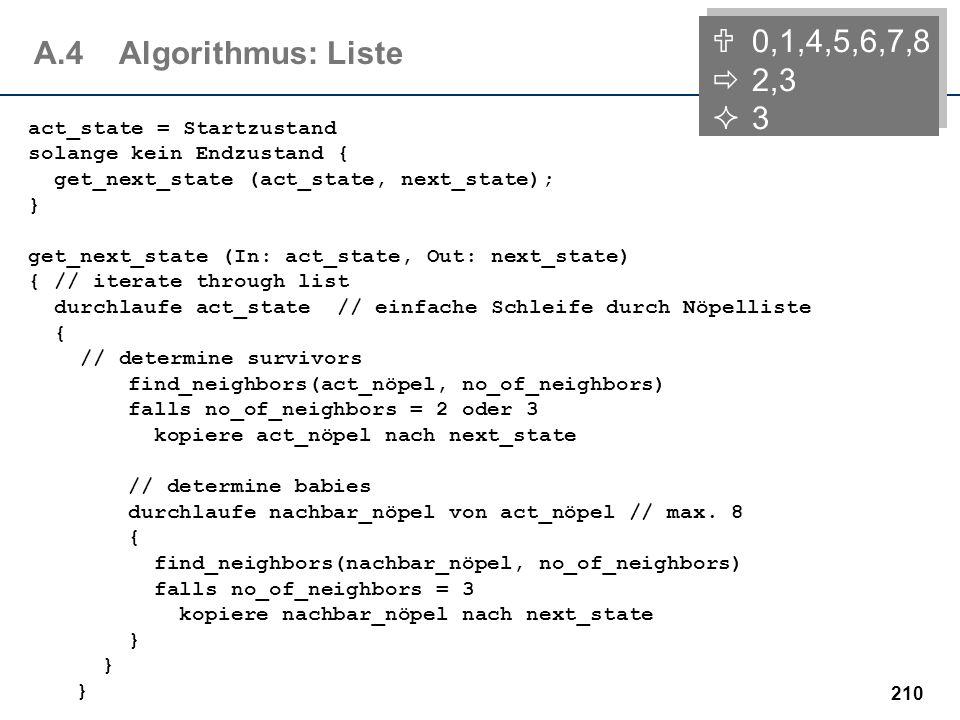 209 A.4Algorithmus: Feld 0,1,4,5,6,7,8 2,3 3 act_state = Startzustand solange kein Endzustand { get_next_state (act_state, next_state); } get_next_sta