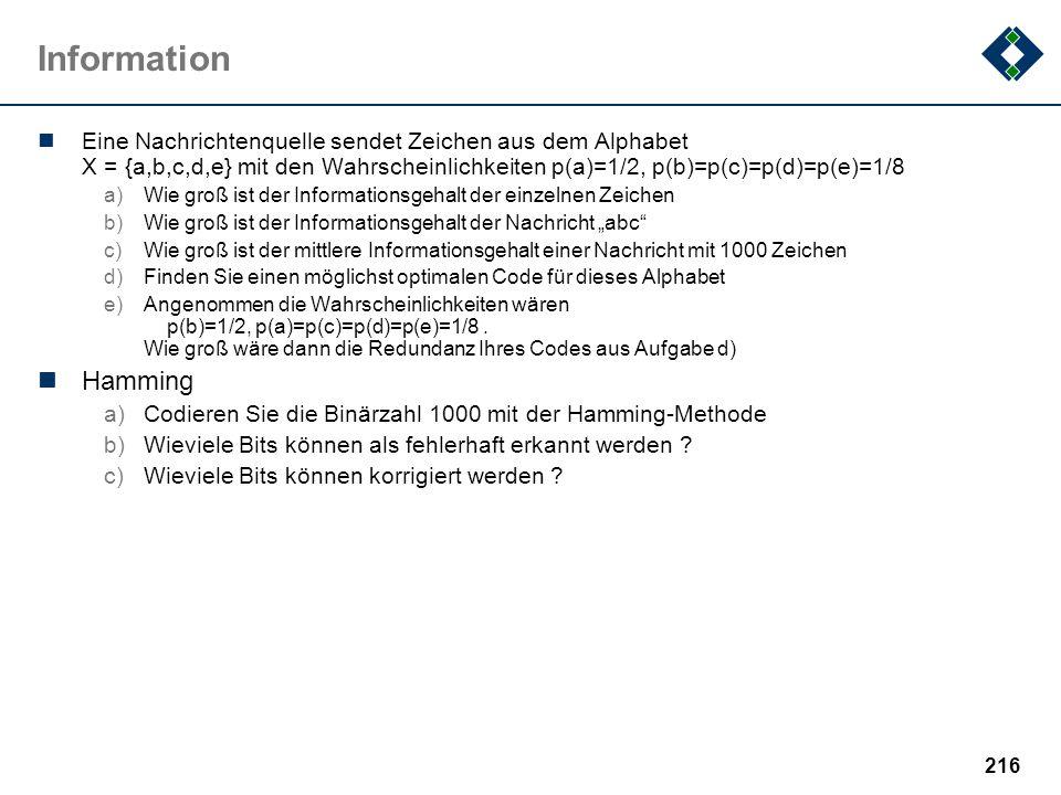 215 Informatik Fehlt in dieser Beispielklausur: a)weitere Wissensfragen b)...
