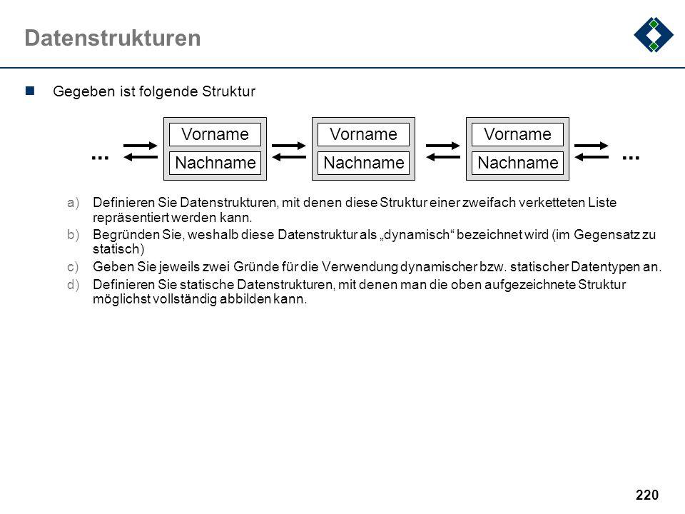 219 Zahlensysteme Fehlt in dieser Beispielklausur: a)Gleitpunktzahlen b)IEEE 754 c)...