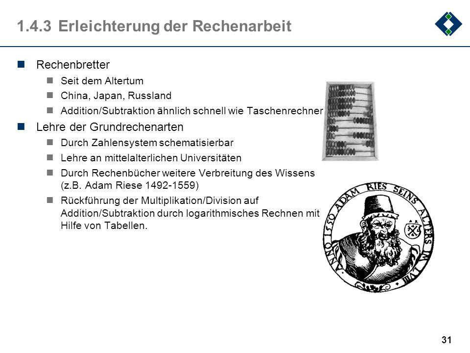 30 1.4.2Automaten und Steuerungen ca. 100 v. Chr. Mechanismus von Antikythera älteste erhaltene Zahnrad-Apparatur wahrscheinlich zur (analogen) Berech