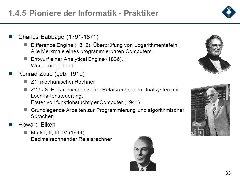 32 1.4.4Mechanische Rechenmaschinen Wilhelm Schickart (1592-1635) Maschine für die Grundrechenarten (1623) Blaise Pascal (1623-1662) Gottfried Wilhelm