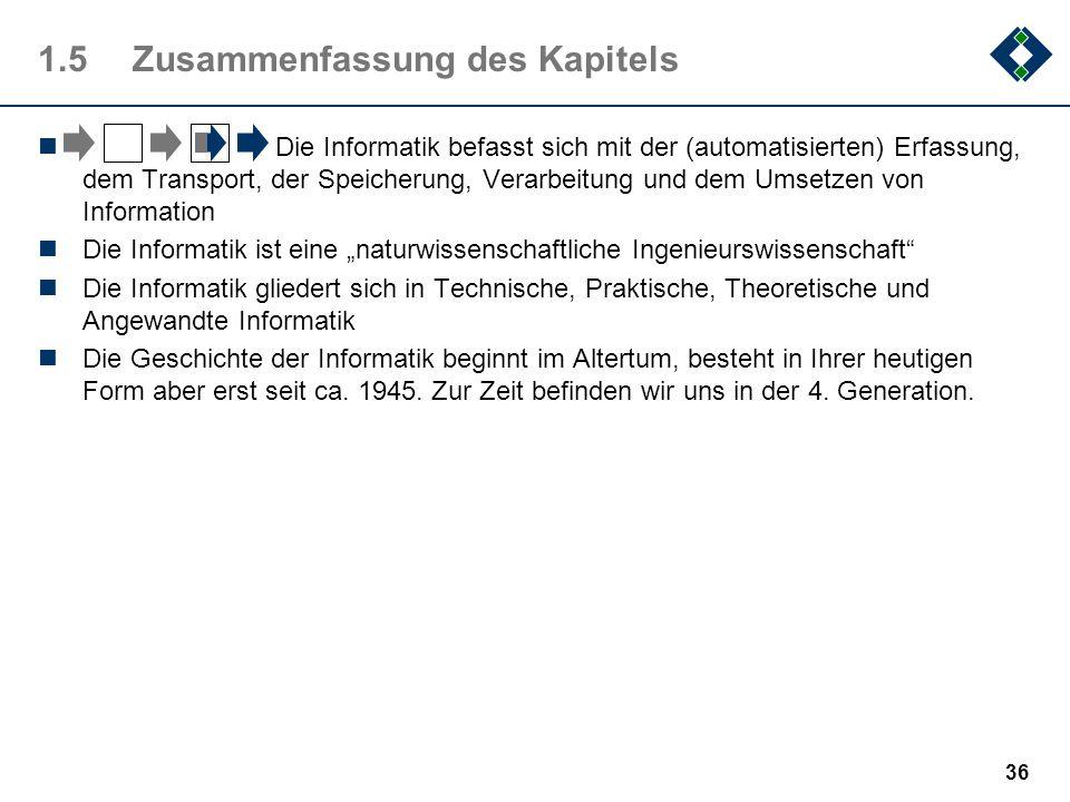 35 1.4.7Die Generationen GenerationBeispielTechnologieSpeich./Geschw.Software Vorgenerat.Z3Elektro-0,0002 MIPSVerdrahtet 1941-1944Mark1mechanik 1.Gene