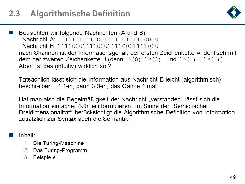 48 2.2.5Informationsaufnahme des Menschen Beim Lesen (eines deutschen Textes) erreicht der Mensch eine Geschwindigkeit von ca. 25 Zeichen/sec das ents