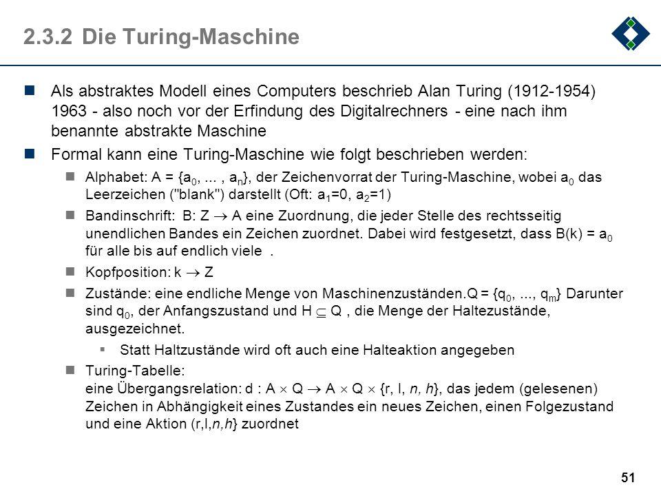 50 2.3.1Einige Fragen 1.Kann jede Zeichenkette durch Regeln (einen Algorithmus) beschrieben werden. 2.Wie können diese Regeln zur Generierung von Zeic