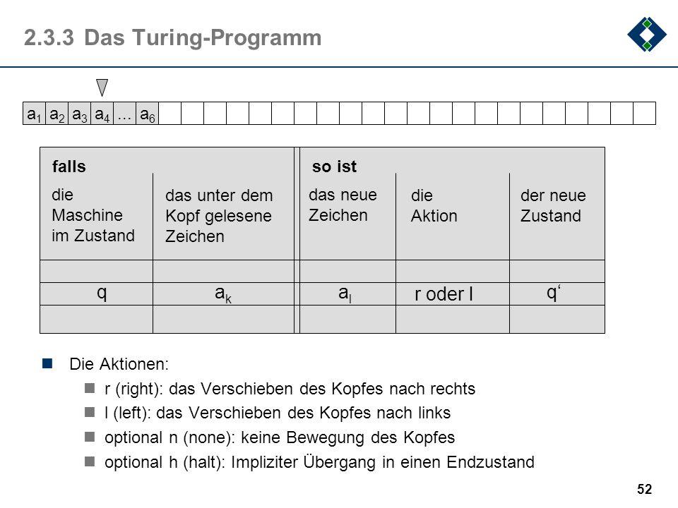 51 2.3.2Die Turing-Maschine Als abstraktes Modell eines Computers beschrieb Alan Turing (1912-1954) 1963 - also noch vor der Erfindung des Digitalrech