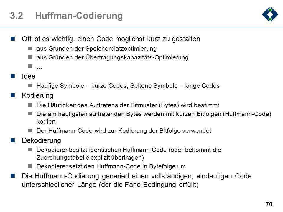 69 3.1.7Codierungsarten Die Entropiekodierung kodiert ungeachtet der zugrundliegenden Information und betrachtet die zu komprimierten Daten als reine