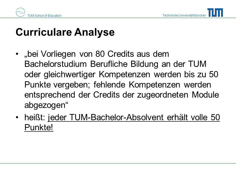 Technische Universität München TUM School of Education Curriculare Analyse bei Vorliegen von 80 Credits aus dem Bachelorstudium Berufliche Bildung an