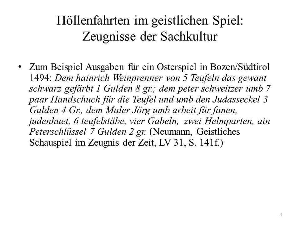 Höllenfahrten im geistlichen Spiel: Zeugnisse der Sachkultur Zum Beispiel Ausgaben für ein Osterspiel in Bozen/Südtirol 1494: Dem hainrich Weinprenner
