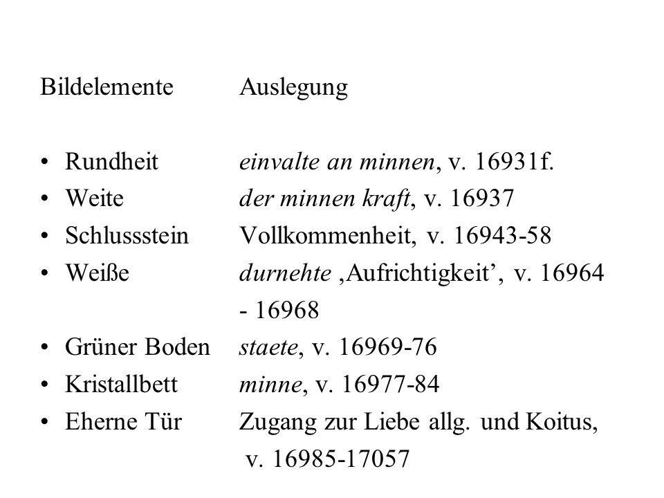 BildelementeAuslegung Rundheiteinvalte an minnen, v. 16931f. Weiteder minnen kraft, v. 16937 SchlusssteinVollkommenheit, v. 16943-58 Weißedurnehte Auf