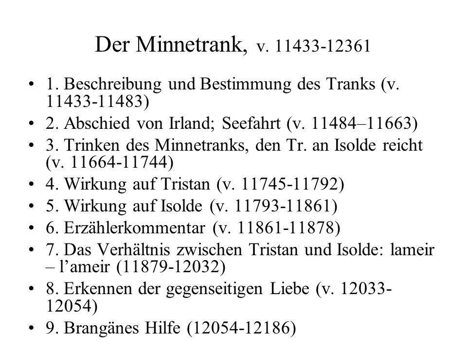 Der Minnetrank, v. 11433-12361 1. Beschreibung und Bestimmung des Tranks (v. 11433-11483) 2. Abschied von Irland; Seefahrt (v. 11484–11663) 3. Trinken