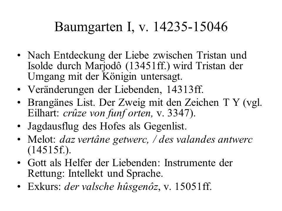 Baumgarten I, v. 14235-15046 Nach Entdeckung der Liebe zwischen Tristan und Isolde durch Marjodô (13451ff.) wird Tristan der Umgang mit der Königin un