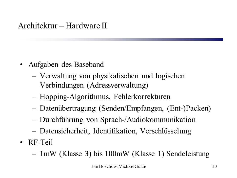 Jan Böschow, Michael Golze10 Architektur – Hardware II Aufgaben des Baseband –Verwaltung von physikalischen und logischen Verbindungen (Adressverwaltu