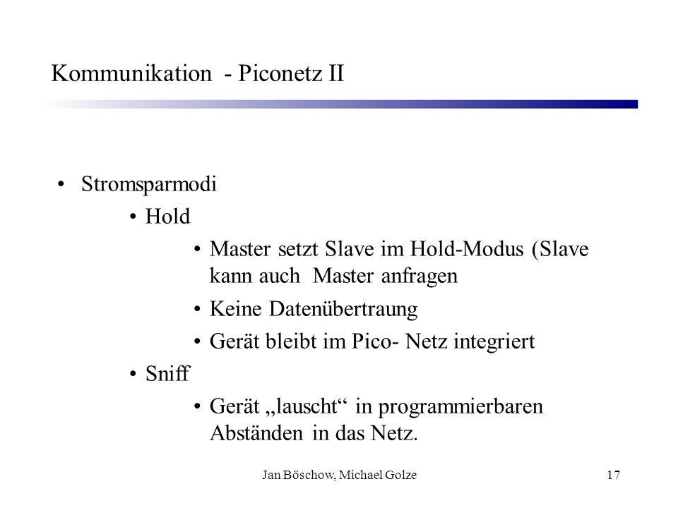 Jan Böschow, Michael Golze17 Kommunikation - Piconetz II Stromsparmodi Hold Master setzt Slave im Hold-Modus (Slave kann auch Master anfragen Keine Da