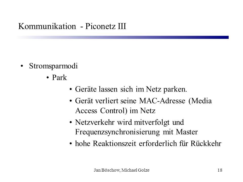 Jan Böschow, Michael Golze18 Kommunikation - Piconetz III Stromsparmodi Park Geräte lassen sich im Netz parken. Gerät verliert seine MAC-Adresse (Medi