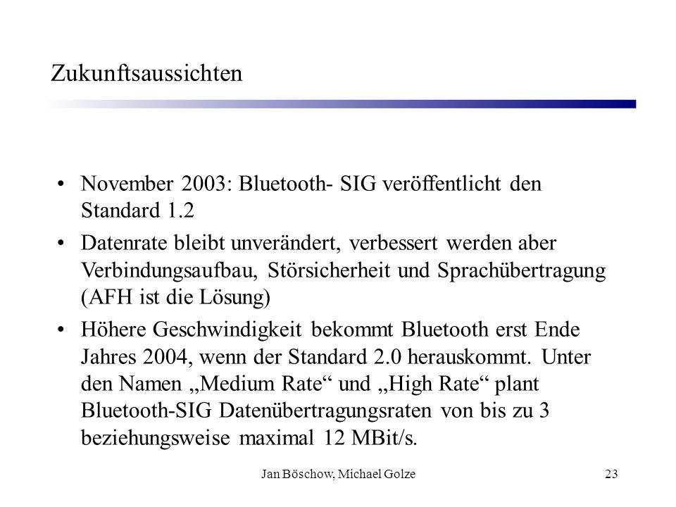 Jan Böschow, Michael Golze23 Zukunftsaussichten November 2003: Bluetooth- SIG veröffentlicht den Standard 1.2 Datenrate bleibt unverändert, verbessert