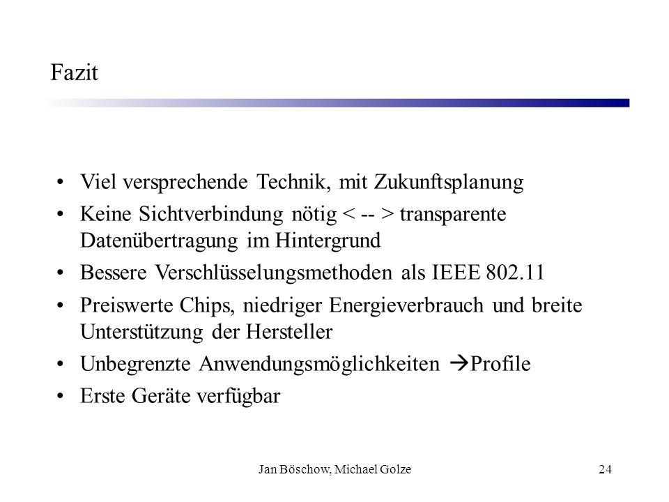 Jan Böschow, Michael Golze24 Fazit Viel versprechende Technik, mit Zukunftsplanung Keine Sichtverbindung nötig transparente Datenübertragung im Hinter