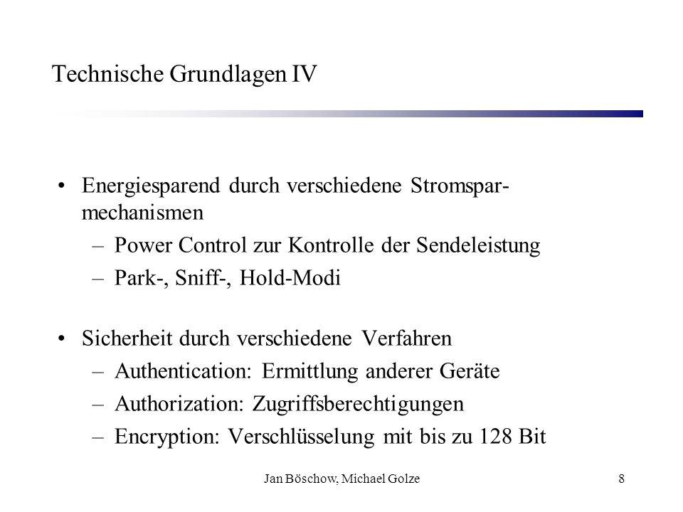 Jan Böschow, Michael Golze8 Technische Grundlagen IV Energiesparend durch verschiedene Stromspar- mechanismen –Power Control zur Kontrolle der Sendele