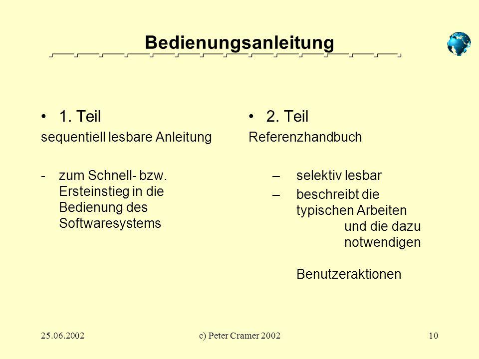 25.06.2002c) Peter Cramer 200210 Bedienungsanleitung 1. Teil sequentiell lesbare Anleitung -zum Schnell- bzw. Ersteinstieg in die Bedienung des Softwa