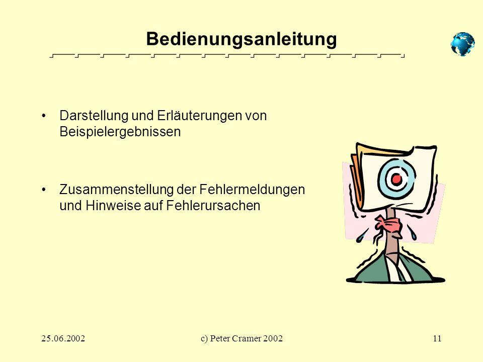 25.06.2002c) Peter Cramer 200211 Bedienungsanleitung Darstellung und Erläuterungen von Beispielergebnissen Zusammenstellung der Fehlermeldungen und Hi